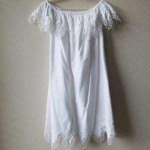 Merona White Crochet Off Shoulder Dress